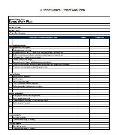 Excel Work Plan Template - 12+ Free Excel Documents Download - sample work plan