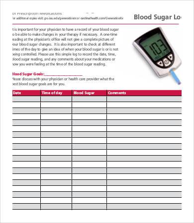 Blood Sugar Log - 7+ Free Word, Excel, PDF Documents Download Free - glucose log sheets printable
