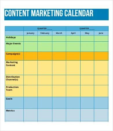content calendar examples - Onwebioinnovate - sample marketing schedule