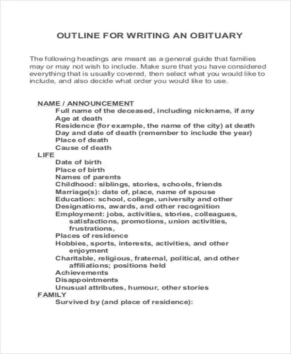 Obituary Samples Free  Premium Templates