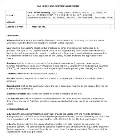Private Lease Agreement Template - 7+ Free Word, PDF Documents - sample vehicle lease agreement