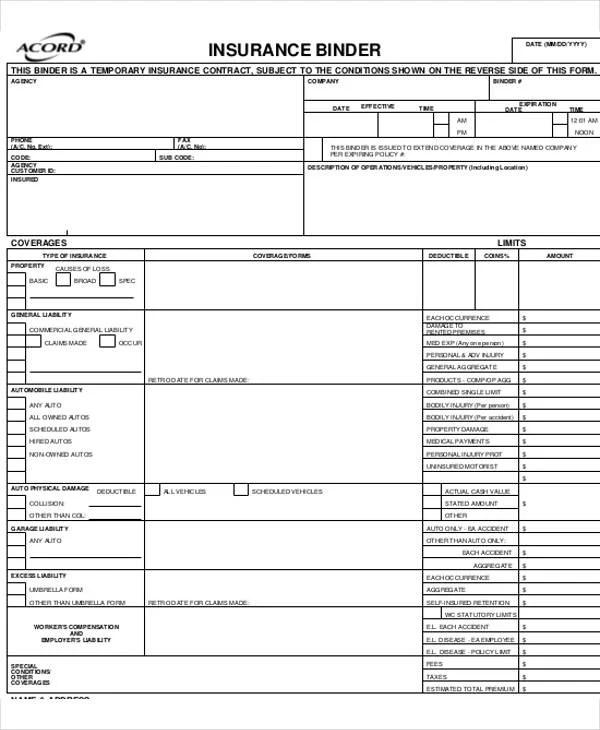 6+Acord Forms Free  Premium Templates