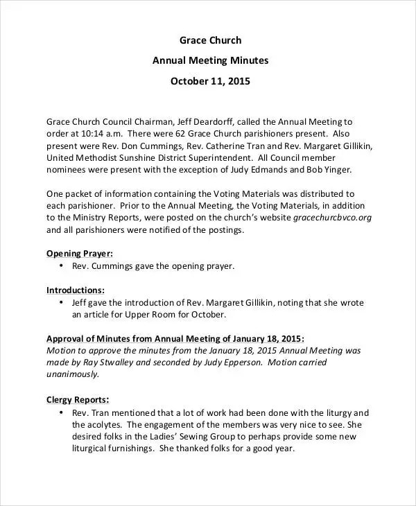 11+ Church Meeting Minutes Templates - Word, Apple Pages, Google