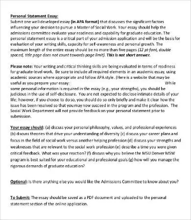 personal statement example for college essays