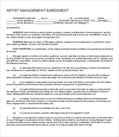 Artist Agreement Template - 9+ Free Word, PDF Documents Download - sample artist contract template