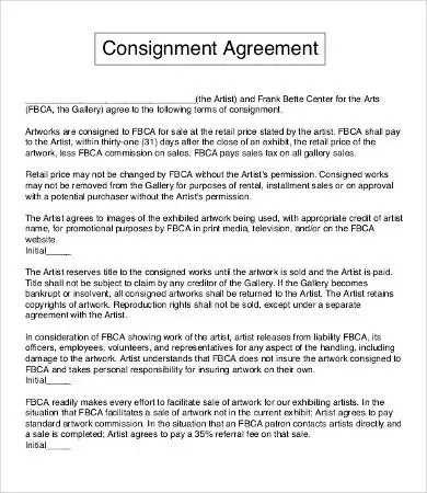 free consignment contract template | resume-template.paasprovider.com