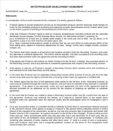 11+ Sample Artist Agreement Templates - Word, Pages, PDF Free