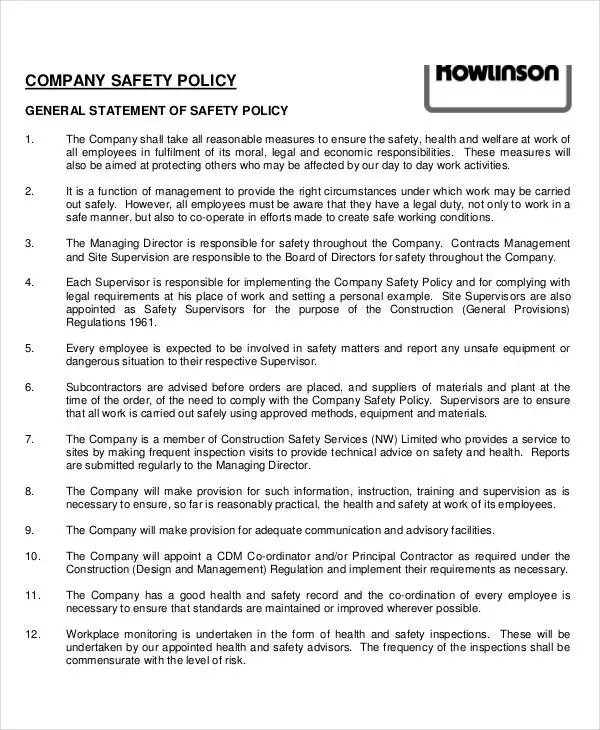 safety policy template - Acurlunamedia