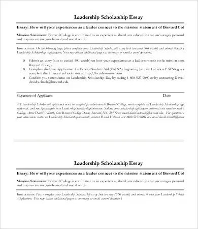 Scholarship Essay Examples Leadership - Sample Scholarship Essays
