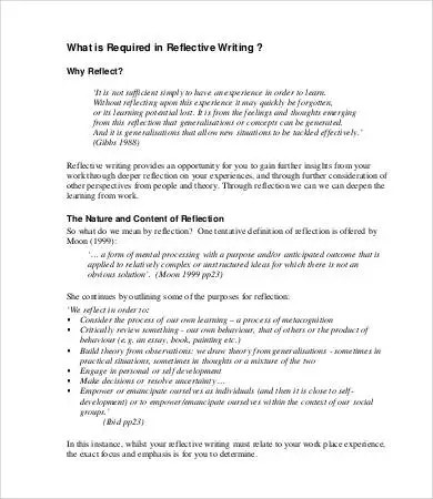 writing a reflection essay reflective essay 8 word pdf documents apa - reflective analysis essay examples