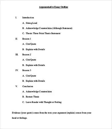 argument essay outline example argumentative essay outline example