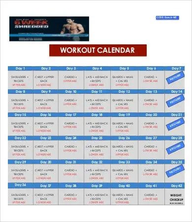 7+ Workout Calendar Templates - Free Sample, Example Format Download