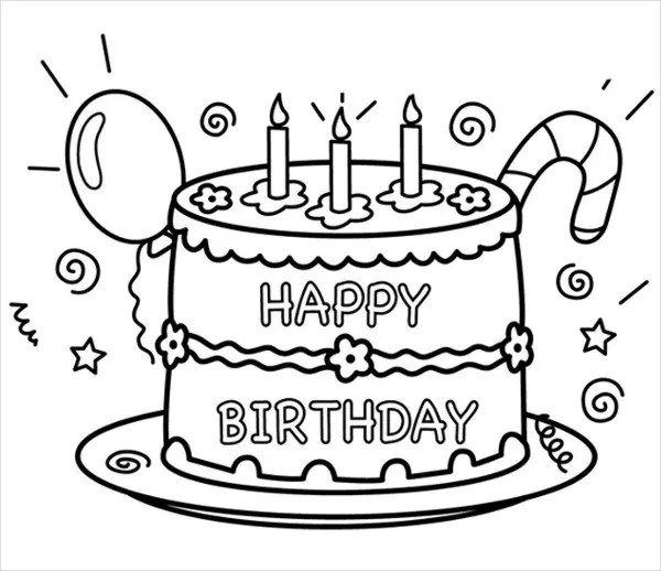 9+ Happy Birthday Coloring Pages - Free PSD, JPG, Gif Format