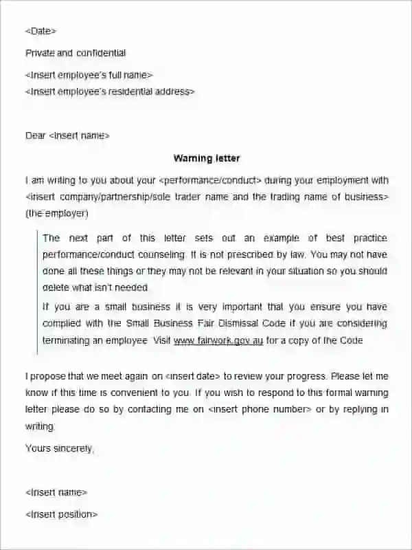 30+ HR Warning Letters - PDF, DOC Free  Premium Templates