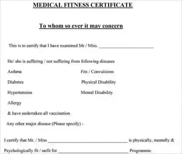 sickness certificate format