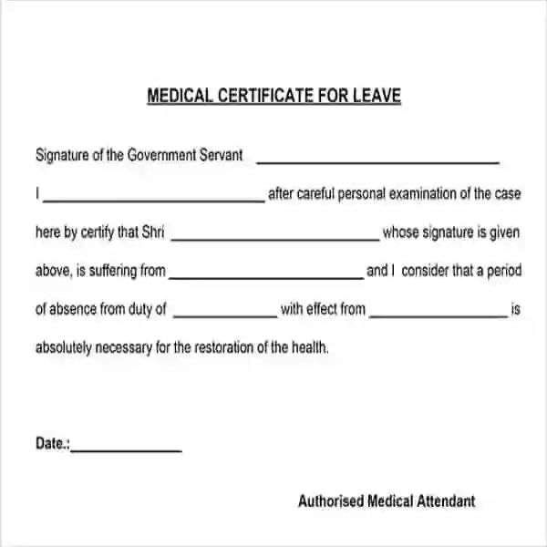 medical illness certificate format india