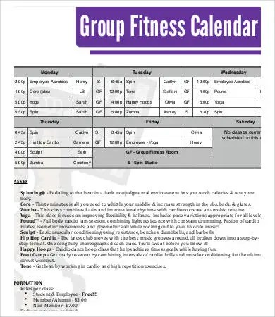 Fitness Calendar Template - 9+Free PDF Documents Download Free