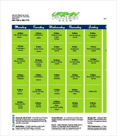Fitness Calendar Template - 9+Free PDF Documents Download Free - Calendar Class