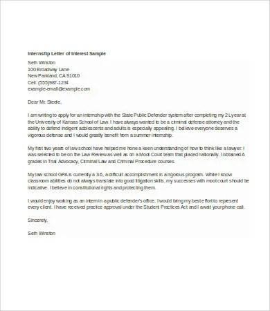 Letter Of Interest For Job - 7+ Free Word, PDF Documents Download - intern letter of interest