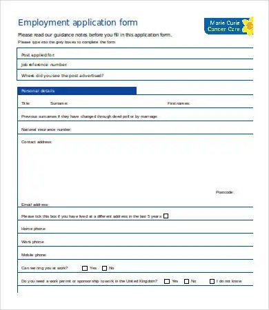 Employment Application Template Word - 7+ Free Word Documents - employment application word template