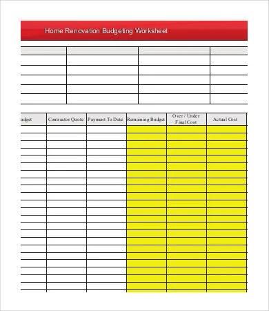 6+ Sample Renovation Budget Templates - PDF, DOC Free  Premium