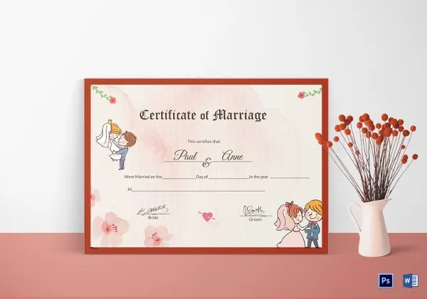 17+ Printable Marriage Certificate Free  Premium Templates - wedding certificate template