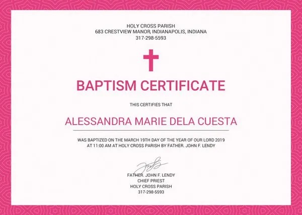 Baptism Certificate Template - 10+ Free PDF Documents Download