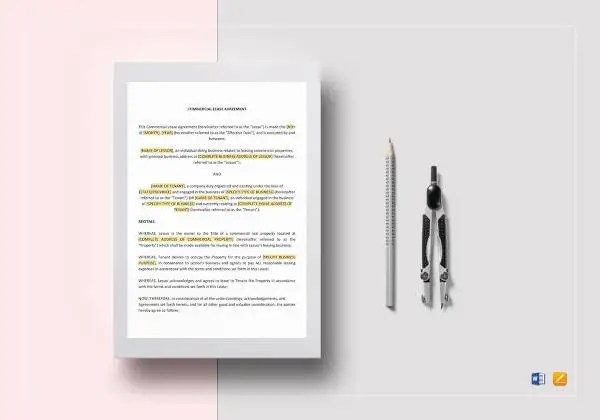 Commercial Lease Agreement Template -12+Free Word, PDF Documents - simple commercial lease agreement