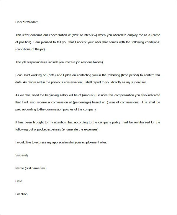 Employment Acceptance Letter - 5+ Free Word, PDF Documents Download