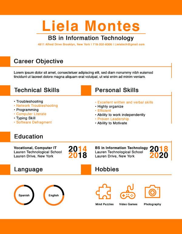 resume templates graduates