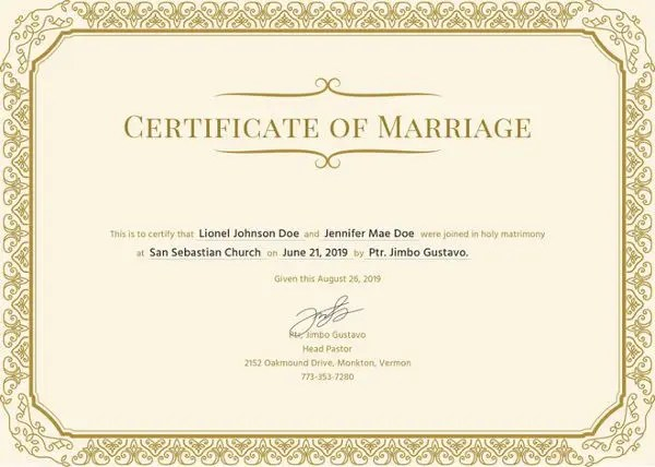 17+ Printable Marriage Certificate Free  Premium Templates
