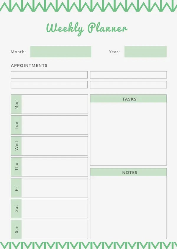 Printable Weekly Planner - 9+ Free PDF Documents Download Free - Free Printable Weekly Planner