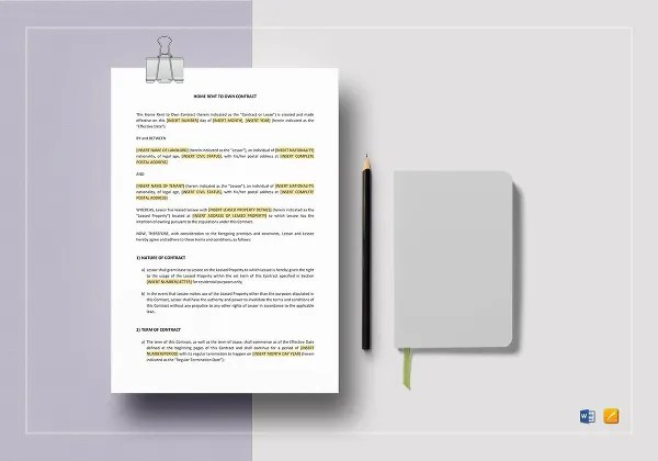 Rent To Own Contract - 7+ Free Word, PDF Documents Download Free