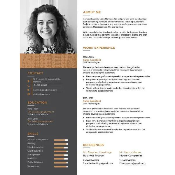 one page resume template with photo free download