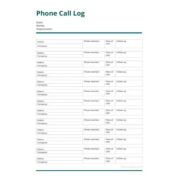 15+ Call Log Templates - DOC, PDF, Excel Free  Premium Templates - phone call log template