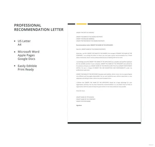 12+ Professional Letter Of Recommendation - Free PDF, Word Format - microsoft word professional letter template