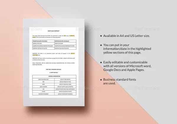 22+ Sales Contract Templates - Free Sample, Example, Format Download - puppy sales contract