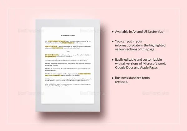 22+ Sales Contract Templates - Free Sample, Example, Format Download - business sale contract template
