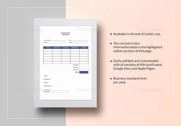 Sales Receipt Template - 17+ Free Word, PDF Documents Download - printable sales receipts