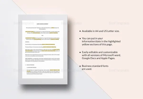 13+ Business Contract Templates - Free Sample, Example, Format - sample business agreements