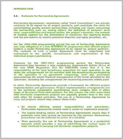 60+ Agreement Template \u2013 Free Word, PDF Documents Download Free - partnership agreements