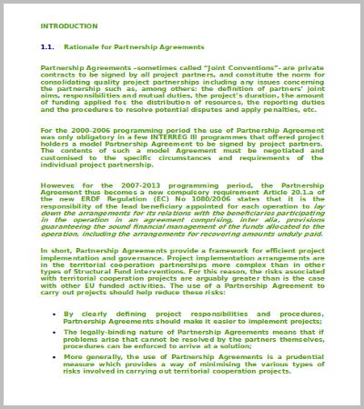 60+ Agreement Template \u2013 Free Word, PDF Documents Download Free - sample partnership agreements