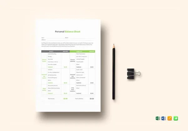 Personal Balance Sheet Template - 16+ Free Word, Excel, PDF