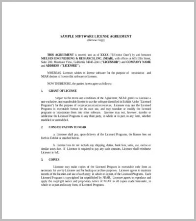 60+ Agreement Template \u2013 Free Word, PDF Documents Download Free - sample software license agreement