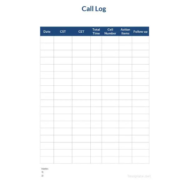 Call Log Sheet Template - 11+ Free Word, PDF, Excel Documents