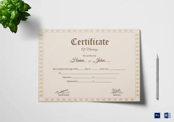 17+ Printable Marriage Certificate Free  Premium Templates - marriage certificate template