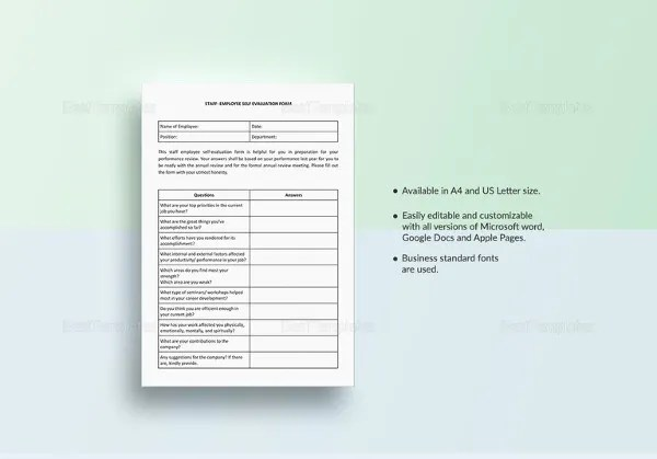 Self Assessment Essay Template Doc Self Evaluation - 13+ Free