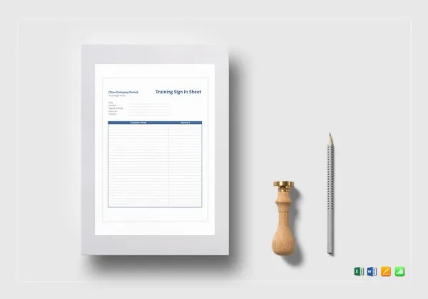 Training Sign In Sheet Template - 9+ Free Word, PDF Documents - excel sign in sheet template