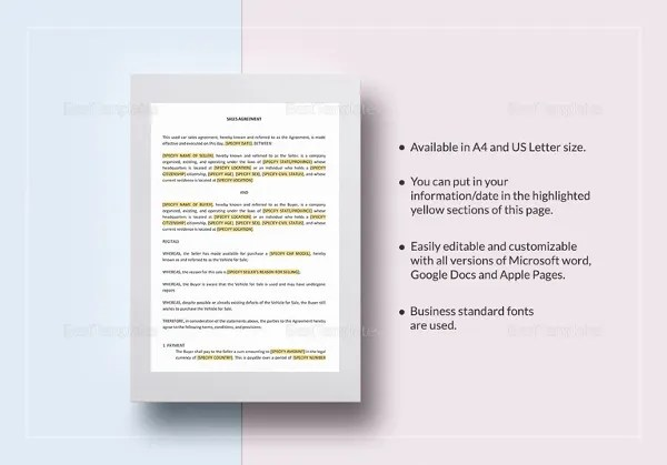 33+ Sales Contract Template - Pages, Docs Free  Premium Templates