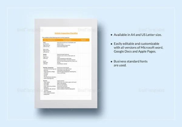 12+ Vehicle Checklist Templates in Word Free  Premium Templates